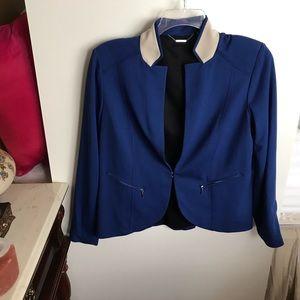 Chico's Black Label blue blazer with zip sleeves